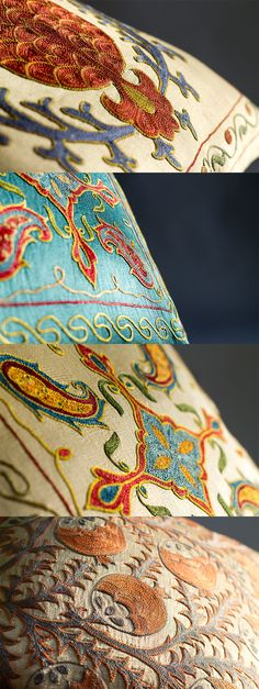 Silk-on-Silk Suzanis Reflecting Natural Light