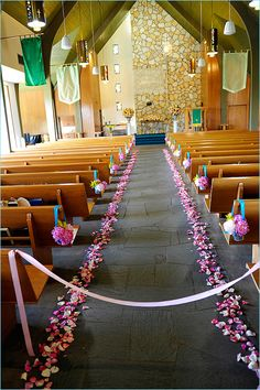 beautiful details for a church - I love the petals lining the center aisle!