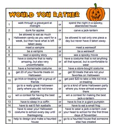 by Rachel Lynette - Grade Here is a set of 20 Would you Rather Questions about Halloween. Great for discussion starters, class pol. Halloween Class Party, Halloween Movies, Halloween Games, Holidays Halloween, Halloween Kids, Halloween Activities For Kids, Holiday Activities, Icebreaker Activities, Monster Activities