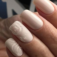 Art simple nails: 3D rose.