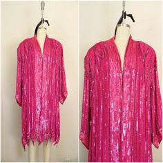Vintage 1970s  Judith Ann Plus  100% Silk Pink Sequin Top/ Overcoat AS IS