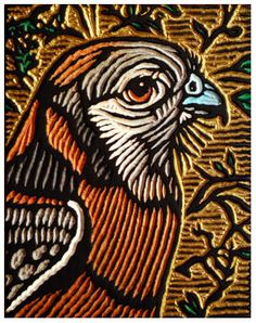 kestrel by Lisa Brawn - painted wood cut Lino Art, Woodcut Art, Acid Art, Kestrel, Encaustic Art, Stencil Painting, Wood Engraving, Woodblock Print, Art Techniques