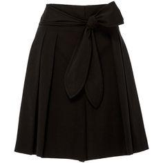 Edun  Cotton Gabardine Tie Waist Short (118.945 HUF) ❤ liked on Polyvore featuring shorts, edun, short shorts, high rise shorts, high-waisted shorts and pleated shorts