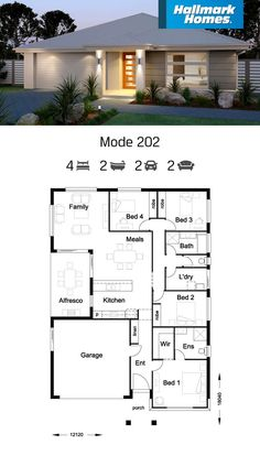The Mode 202 is perfect for square blocks. Featuring four generous bedrooms, large open plan kitchen and living areas, and a secluded alfresco for relaxing. House Layout Plans, Bungalow House Plans, Family House Plans, Bungalow House Design, Dream House Plans, House Layouts, House Floor Plans, Simple House Design, Modern House Design