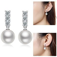 Pearl Earrings   Pearl Dangle Earrings Sterling Silver 10mm Dangle Pearl EarringsWhite Pearl Drop EarringsWomen Pearl Stud EarringsFreshwater Shell Pearl EarringsHypoallergenic Pearl Earrings Dangle Earrings >>> You can get more details by clicking on the image. (This is an affiliate link and I receive a commission for the sales) #PearlEarrings
