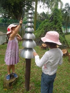 "Bet this makes a nice sound in the musical garden at Blue House International School - made with recycled materials ("",)"