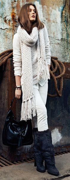 It's all about the scarf, sweater and stylish warm boots #CanadianWinter #Fashion