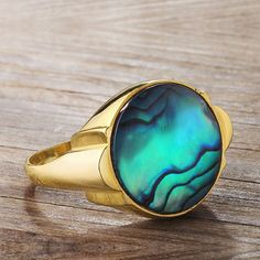 Men's Ring 10k Gold Natural Blue Abalone Shell Solid Yellow Gold Ring 5-14 sizes