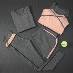 Find More Yoga Sets Information about 2018 New Women's Yoga Set Fitness Quick Dry Long Sleeve Shirt+Bra+Pants+Shorts Gym Jogging Clothing Breathable Sportswear Suits,High Quality women yoga sets, Cute Sporty Outfits, Cute Workout Outfits, Workout Attire, Sport Outfits, Girls Sports Clothes, Jogging Outfit, Sports Bra Outfit, Teen Fashion Outfits, Mode Hijab