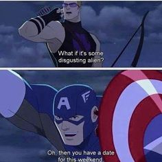 Cap is the supportive one. Hawkeye and Cap