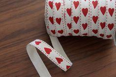 Vandoros 15mm Printed Twill Ribbon (Red Hearts) PER METRE