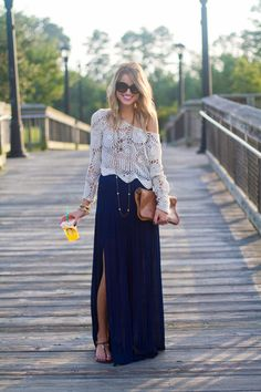 How to Master Bohemian Style | StyleCaster Cute skirt! Love the color and style. The shirt isn't my style. Don't care for off the shoulder on me.