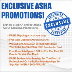 Sign up at #ASHA14 and get this #ASHA exclusive #promos !! #CompleteSpeech