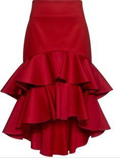 Kristyn High-Low Layered Ruffled Skirt by Designer Alexis Frilly Skirt, Cotton Skirt, Ruffle Skirt, Mode Outfits, Skirt Outfits, Fashion Outfits, Fashion Women, Coperate Design, Hi Low Skirts