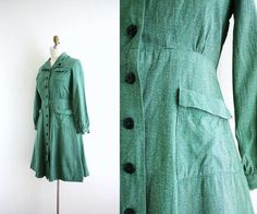 army green    Vintage Girl Scout Uniform  Army Green Dress by CapriciousTraveler, $68.00