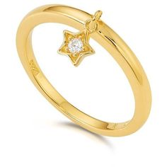 Kasané - Yellow Star Charm Ring ($97) ❤ liked on Polyvore featuring jewelry, rings, star ring, star jewelry, charm rings, 18 karat gold jewelry and 18k ring