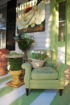 Beautiful porch! Love the striped floor.