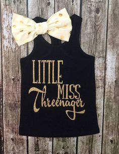 Little Miss Threenager Third Birthday Outfit, Threenager Shirt, Sparkle Yhird…