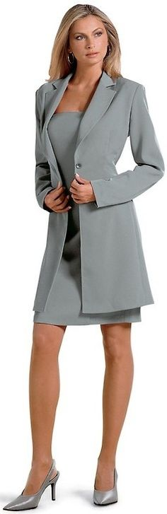 Gray Sheath Dress Gray Duster and Gray High Heels
