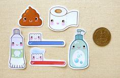 Cute Bathroom Sticker Flakes Pack of 24 Kawaii by BeagleCakesArt