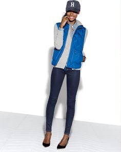 J.Crew excursion vest and Collection zip-front cashmere hoodie.