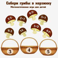 Játék az iskolába: Didaktikai játék gyerekeknek. Összeadás és kivonás 10 - Gyűjtés gombát a kosárba.