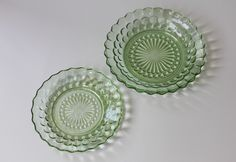 Eames era Anchor Hocking green glass plate and bowl set - For sale at http://www.nothingbutvintage.com.au