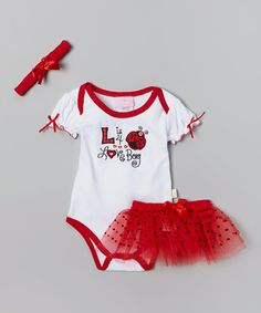 Another great find on #zulily! White & Red 'Love Bug' Bodysuit Set #zulilyfinds  $8.99 from 24.00