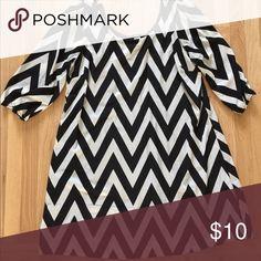 ||black + white|| chevron dress 3/4 sleeve. Polyester. ING Dresses