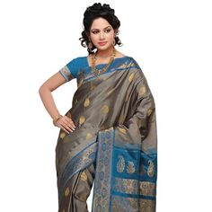 Grey Pure Handloom Gadwal Silk Saree With Blouse Online Shopping: SHA46B