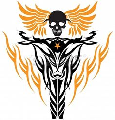 tribal tattoo style flying skull at wheel of motorcycle Stock Photo - 20216980
