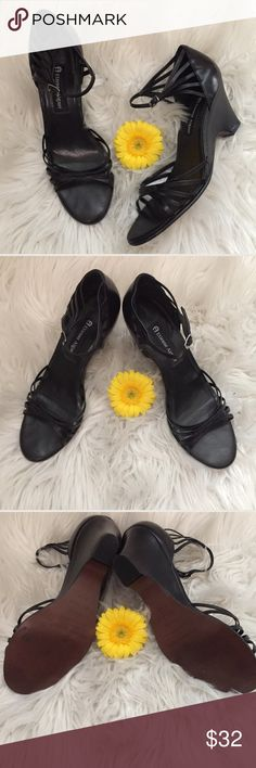 Etienne Aigner Black Leather Sandals Size 8.5 EUC Etienne Aigner Black Leather Sandals Size 8.5 EUC- wedges with fun strappy detail. Perfect for summer dresses and skirts. Classic and the leather is buttery soft. Etienne Aigner Shoes Sandals