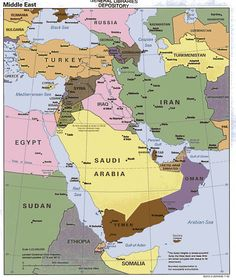 A political map of the Middle East that shows the locations of all the countries.