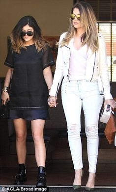 Windblown: Kylie Jenner and Khloe Kardashian hair was a little ruffled at one point