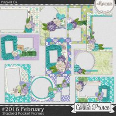 #2016 February - Stacked Pocket Frames by Connie Prince. Includes 10 cards (5) 4x6 size & (5) 6x4 size. Saved in PNG format. Shadows ARE included. Scrap for hire / others ok.