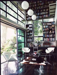 indoor/outdoor library sitting area #homedecor #interiordesign #architecture