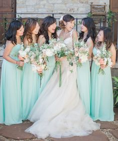 Tiffany blue minty bridesmaid dresses: http://www.stylemepretty.com/2015/11/17/tiffany-blue-wedding-details-for-a-glamorous-day/