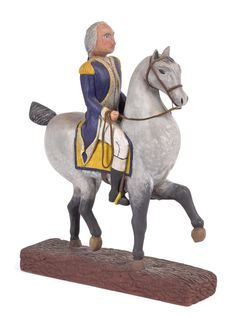 Paul Tyson carved and painted figure of George Washington on horseback, signed, inscribed { Bicentennial} and dated 13 h. Farm Art, Postcard Art, Art Carved, Pull Toy, George Washington, Antique Toys, Art Decor, Primitive, Folk
