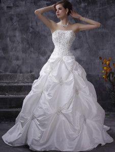 Strapless Draped Taffeta Ball Gown Style Wedding Dress