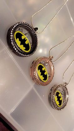 Charm necklace floating charm necklace batman by JETAccessories
