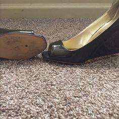 Dark brown wedge with gold trim Worn only 2x dark broze brown wedge size 7 Dollhouse Shoes Wedges