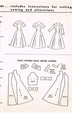 """Vintage Misses' Princess Dress Pattern ORIGINAL Vintage Sewing Pattern McCall's Pattern 9956 Dated 1954 Complete Nice Condition Size 12 (30"""" Bust)"""