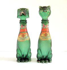 VINTAGE ANTIQUE DOG CAT GREEN GLASS ITALIAN WINE BOTTLES DECANTER 60s BARWARE   eBay $49.99+