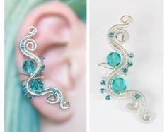 Emerald green elven EAR CUFF with czech glass by CharmingWondersCW