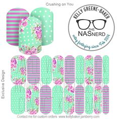 Crushing On You inspired~ Get the Look without the polish! Contact me @ Kelly GB/The NAS Nerd on Facebook or email me bluegodiva@gmail.com if interested in designing/ordering a custom nail art studio sheet of your own . Curious about Jamberry's 350+ ready-to-go catalog wrap designs, lacquer or gel enamels? Head to kellybaker.jamberry.com ~ DIY nail art, purple, pink, teal, aqua, turquoise, stripes, flower, polka dots, feminine Jamberry Lacquer, Jamberry Nas, Nail Art Diy, Easy Nail Art, Nail Art Studio, Colorful Nail, Independent Consultant, 3d Nails, Nail Wraps