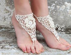 Handmade Beach Wedding Crochet White Barefoot Sandals by Lasunka