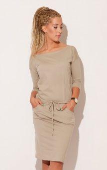 Sportowa sukienka z paskiem beżowa/ Sporty dress with little belt