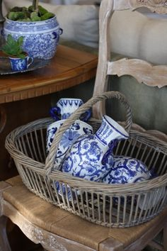 Nice basket...love the blue and white vases.
