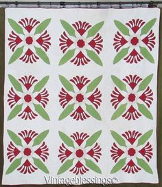 Stunning! Dated 1873 Antique COCKS COMB Turkey Red Green Applique QUILT  Vintageblessings