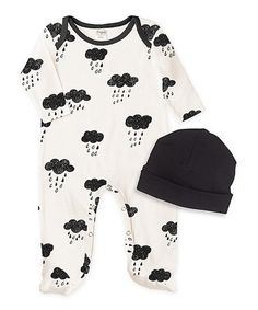 Another great find on #zulily! Ivory Rain Cloud Footie & Black Beanie - Infant #zulilyfinds